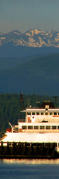 Port Townsend Ferry and Olypmic Mountains